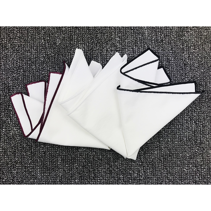 High Quality 100% Cotton  Mens White Pocket Square For Bridegroom