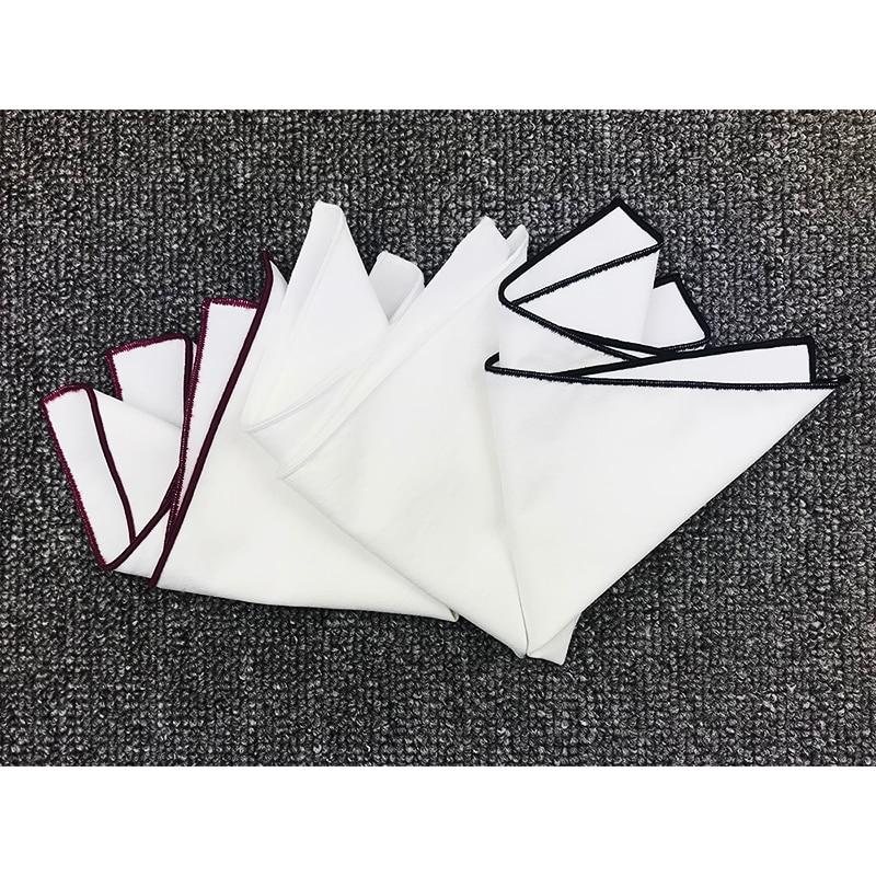 High Quality 100% Cotton  Mens White Pocket Square For Bridegroom