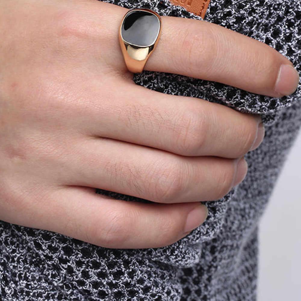 우아한 기질 솔리드 폴리 쉬드 밴드 바이커 남자 인장 반지 블랙 실버 커플 반지 Bijouterie 드롭 배송 패션 #36