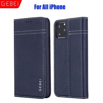 Luxury Original Brand GEBEI Genuine Leather Flip Unique Magnet Design Stand Case Cover For iPhone 12 Pro Max 11 Xs 8 7 6 Plus
