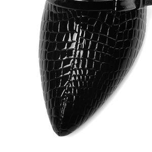 Image 4 - ALLBITEFO 本革ウェッジヒールパーティーの女性の靴のヘビ皮ハイヒールオフィスの女性の靴女性のハイヒールの靴