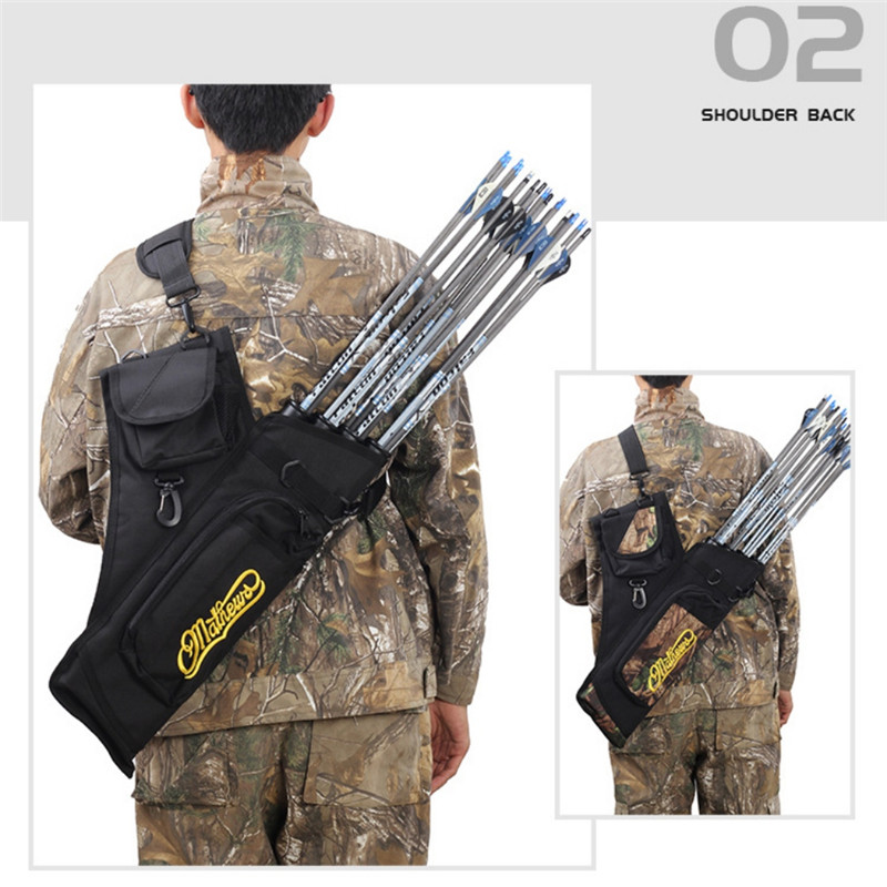 Hunting Arrow Bag <font><b>4</b></font> <font><b>Tubes</b></font> Archery Support Bag With Adjustable Strap Hunting Accessories Black Camouflage image