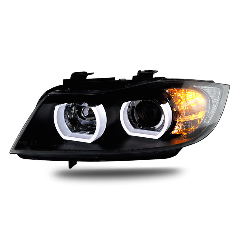 Car accessories for <font><b>BMW</b></font> <font><b>E90</b></font> headlamp 318i 320i 325i Headlight LED Angel eyes <font><b>Front</b></font> <font><b>light</b></font> for <font><b>BMW</b></font> 318 320 325 Bi Xenon Lens HID image