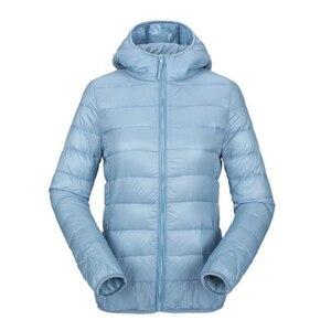 Image 1 - ZOGAA kadın ultra hafif şişme mont kapşonlu kış ördek aşağı ceket kadın ince uzun kollu Parka fermuar Coats cepler ceketler