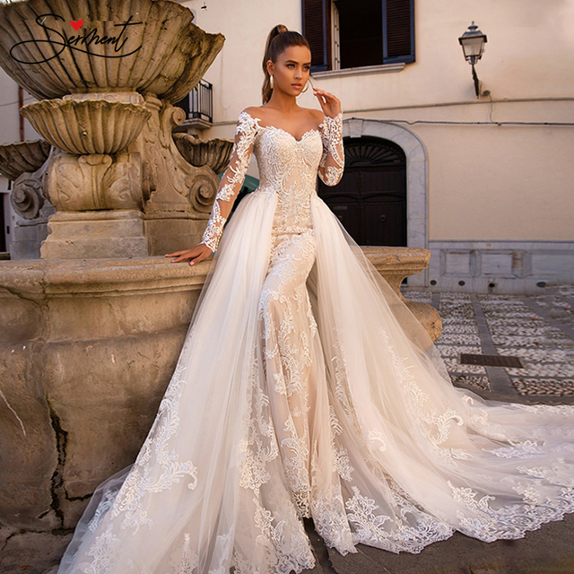 BAZIIINGAAA Luxury Long Sleeve Mermaid   Detachable Mermaid Tail 2 in 1 Lace Wedding Dress
