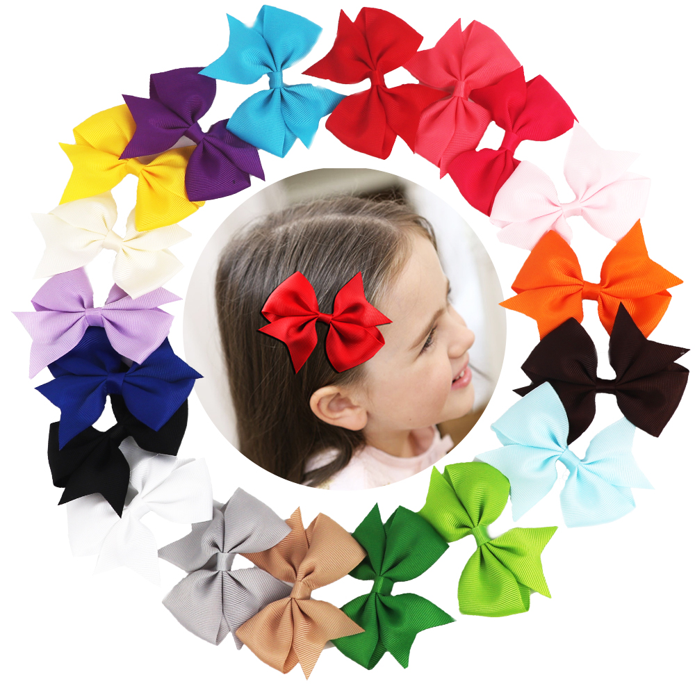 TYRY.HU Headware In Baby Girls' Hair Accessories 20 Pcs Baby Bows Girl Hair Clips Colorful Ribbon Hairpins Baby Hair Accessories