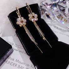 2019 Oorbellen Brincos Style Zircon Superflash Drill Flower Ring Tassels Earrings S925 Needle Temperament Personality Baitao