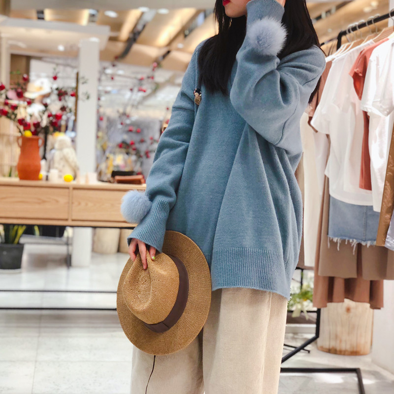 Новинка 2019, шерстяная меховая шаровая манжета, кашемировый свитер, женский свободный свитер средней длины с круглым вырезом, утолщенный Рож... - 5