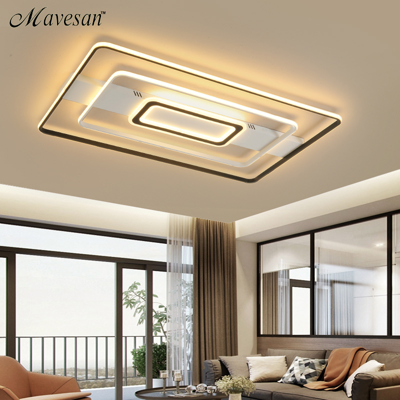 Modern Rectangle/Square/Circle Acrylic Led Ceiling Light White Color Black Color Remote Control For Living Room Bedroom lighting|Ceiling Lights| |  - title=