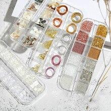 Nova arte do prego conjunto de jóias 3d japonês liga de metal diamante pérola folha de lata diy acessórios do prego fio cobre casca fatia decoração mista