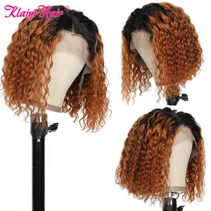 Image 4 - Klaiyi Hair Curly Bob Human Hair T1B99J/T1B30/Natural Wigs 8 14 inch Pre Plucked Remy Hair 13*4 Lace Front Wig 130% 180% Density