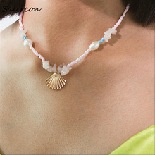 SalirConTemperament White Imitation Pearl Chain Necklace Natural Alloy Scallop Colorful Rice Beads Geometric Stone Choker Women