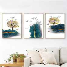 Wall Art Canvas Painting Nordic Abstract Scenery Plant Home Decor Brid Tree Picture Print Living Room Bedroom Decor Home Poster nordic canvas painting abstract living room golden art wall pictures print bedroom dinning room home decor unframed poster art