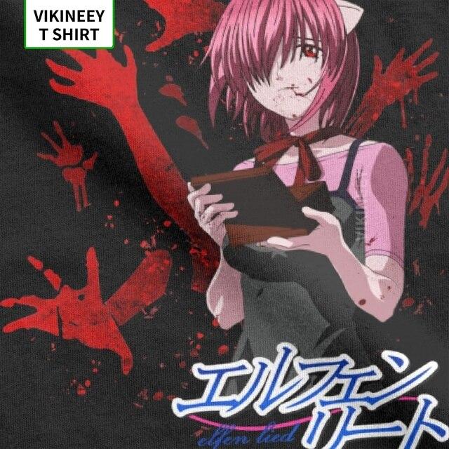 Men's T-Shirt Elfen Lied Mirai Nikki Cotton Fabric Tee Short Sleeve Gasai Yuno Anime Manga Future Dairy Comic Yandere T Shirt