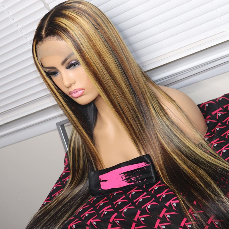 Ombre Color Straight Lace Front Human Hair Wigs With Baby Hair Pre Plucked Remy Brazilian Lace Long Wigs Bleached Knots