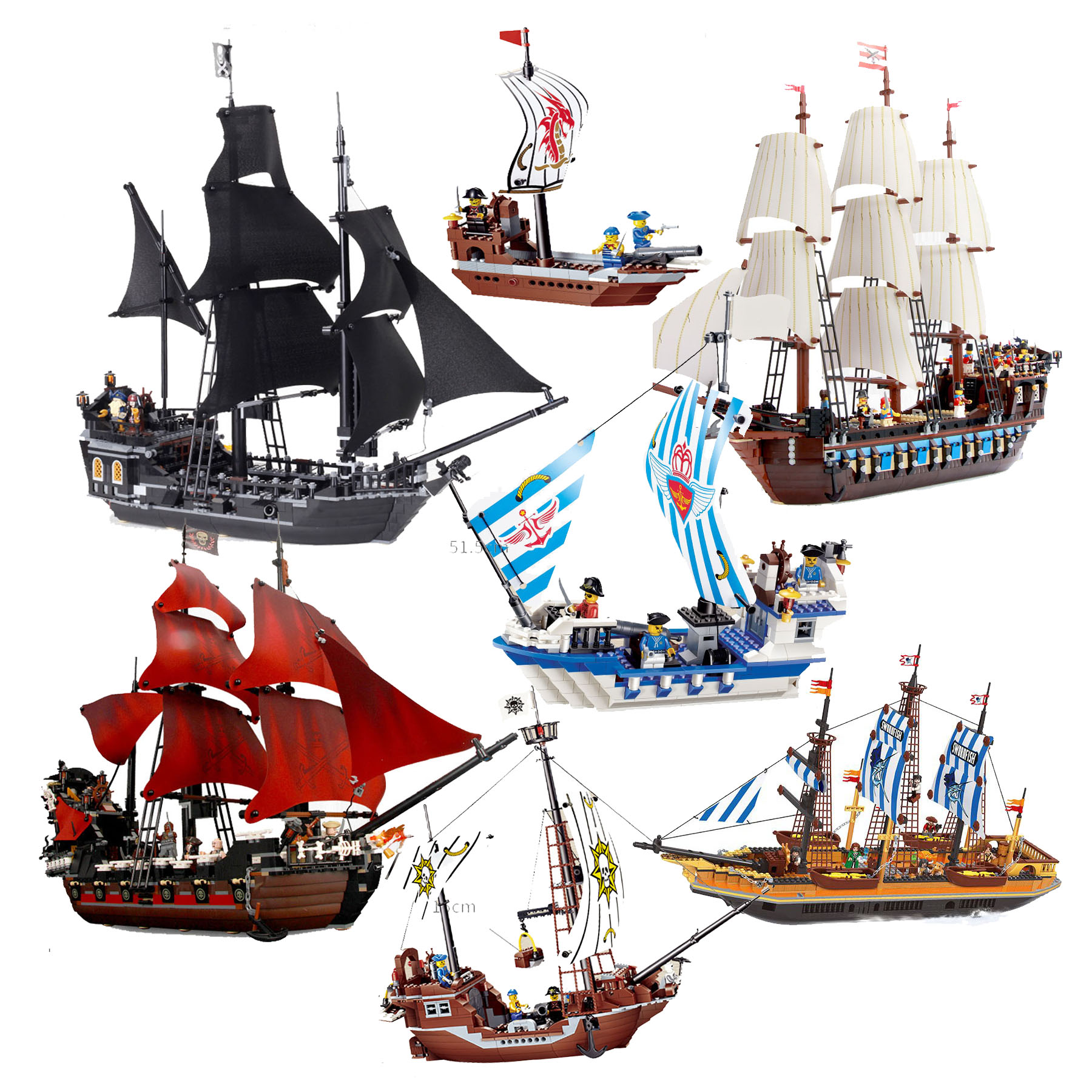 Building Block Large Pirate Ship Boat Queen Anne's Revenge Imperial Flagship Caribbean Sea Educational Bricks Toy Boy Gift