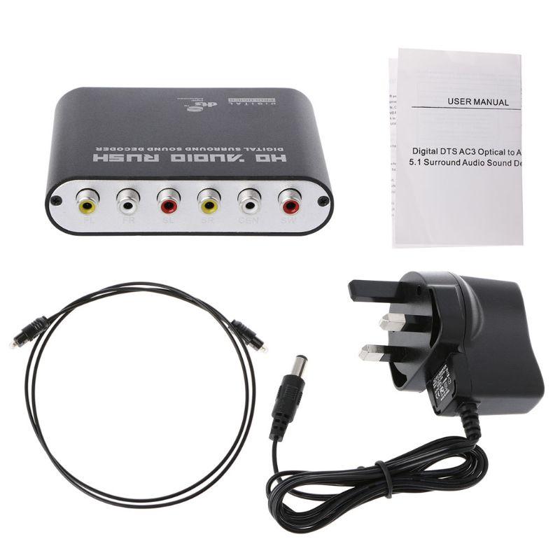 Цифровой DTS AC3 оптический аналоговый 5.1CH декодер объемного звука коаксиальный 6RCA T5UA