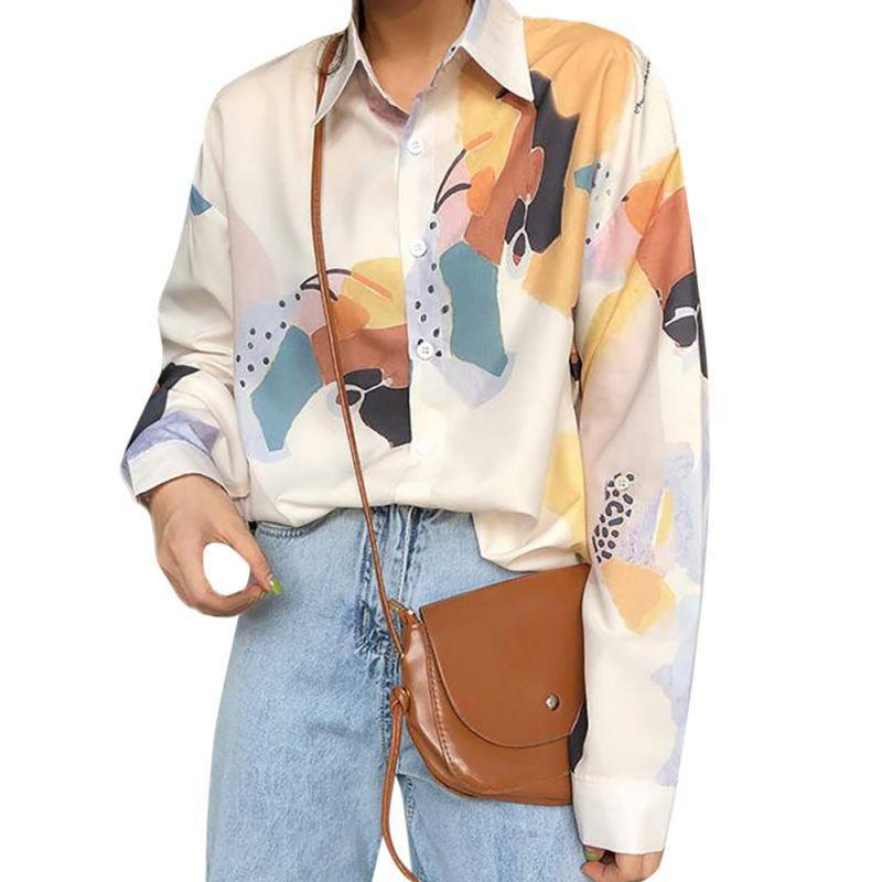 EFINNY Fashion Autumn Women Loose Blouse Retro Button Long Sleeve Turn-down Collar Blouses Ladies Casual Printed Shirts