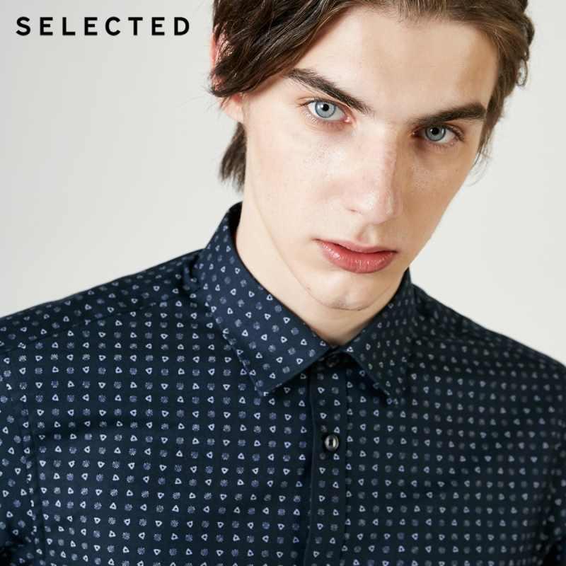 Мужская рубашка с длинными рукавами и принтом из 100% хлопка, 419105573