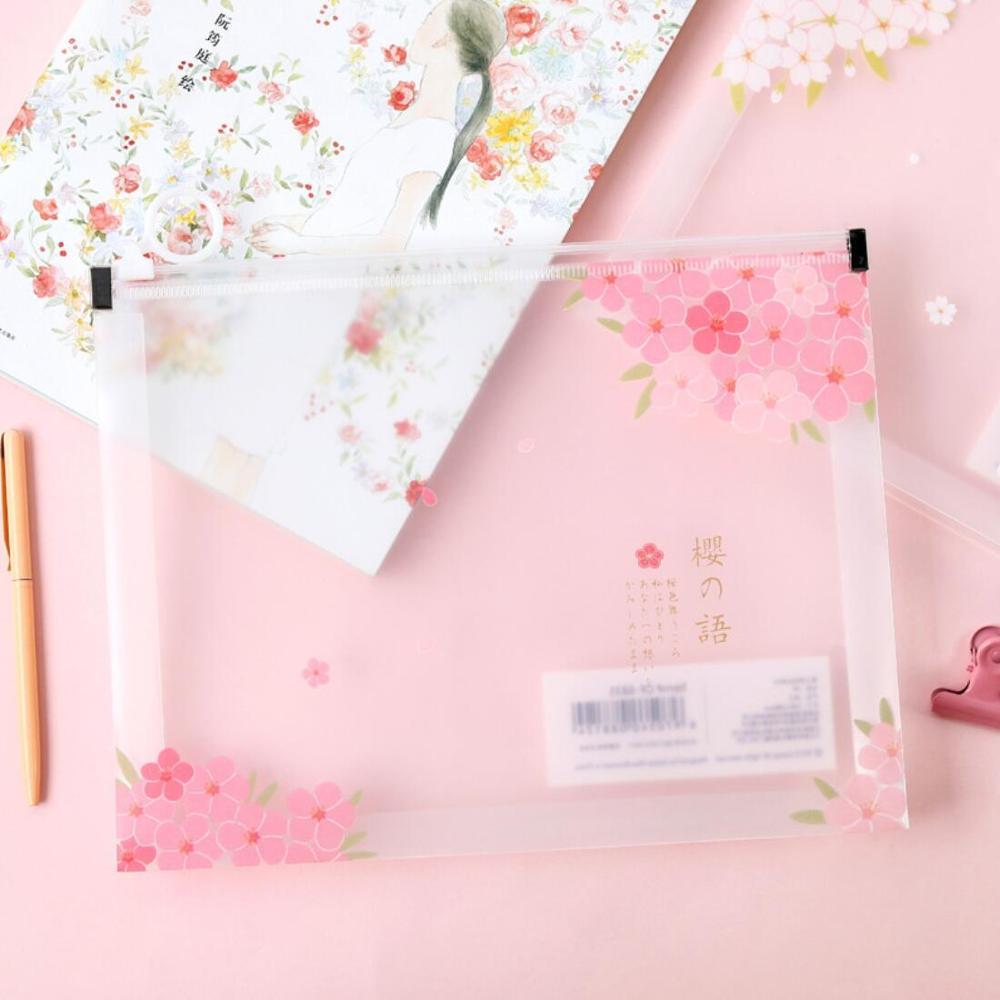 Cherry Sakura Pink White A5 File Bag Document Bag File Folder Stationery Filing Production