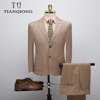 TIAN QIONG (Jacket+Pant)khaki Mens Suit High-end Prom Suits Stage Wear Costume Homme Mariage 2019 Slim Fit Mens Suits with Pants