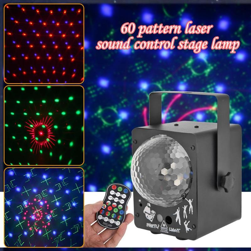 Sound Activated LED Stage Light Disco Effect Lighting Laser Projector Ball Lamp 60-pattern Rich Effect For All Arrangements