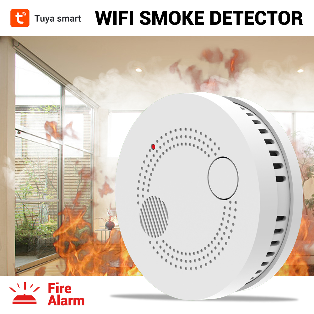 CPVan Tuya WiFi Smoke Detector Fire Alarm Wireless Smoke Alarm Fire Protection Fire Detector For Home Security Alarm System