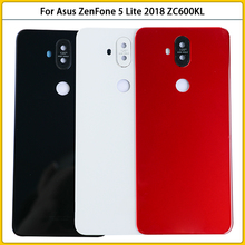 ZC600KL غطاء بطارية زجاجي ، غطاء خلفي جديد لهاتف Asus ZenFone 5 Lite 2018 ZC600KL ، مع إطار كاميرا ، عدسة زجاجية