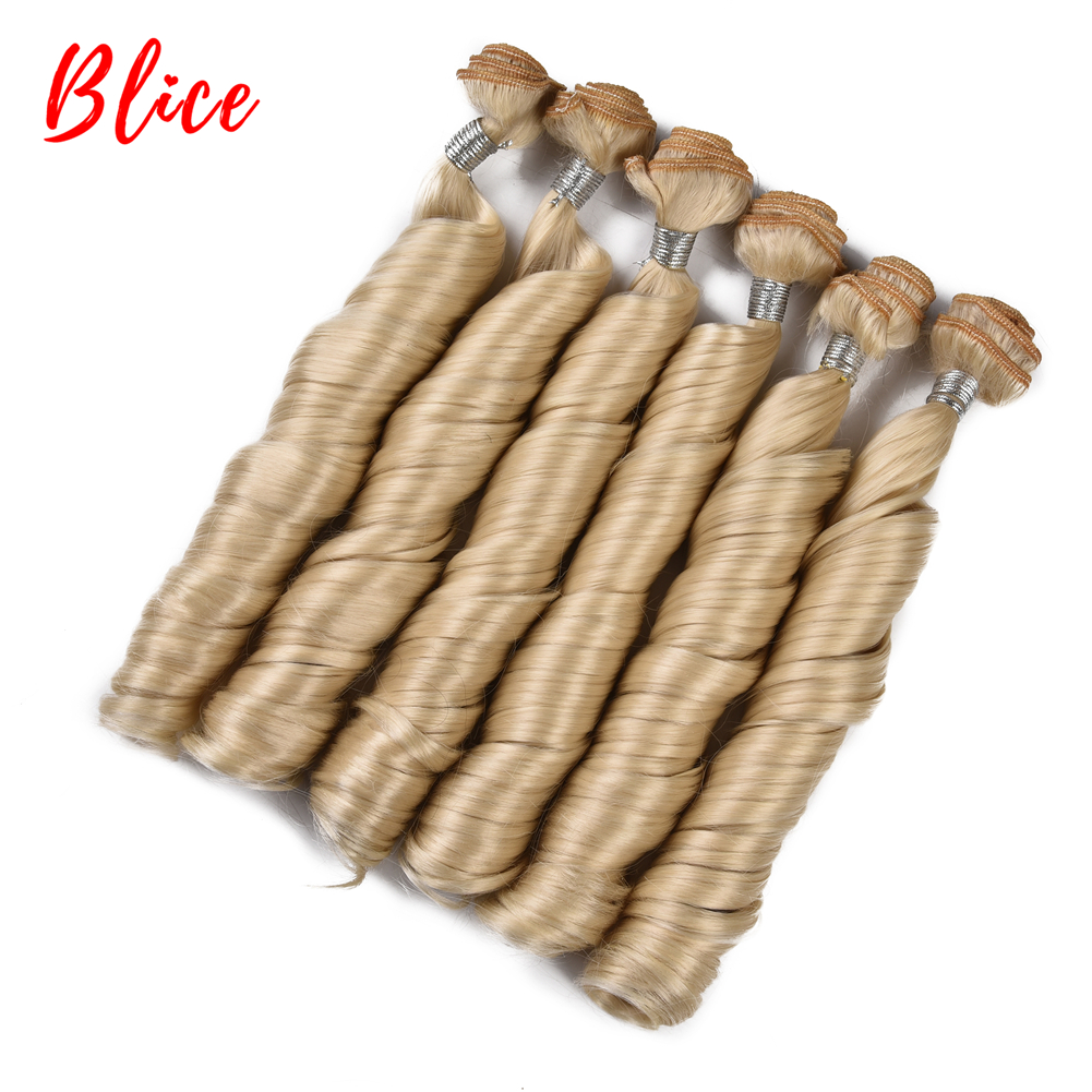 Blice 18inch Bouncy Curly Hair Heat Resistant Synthetic Weave 222g/Pack Sew in Extensions 6pcs/pack Blonde Bundles