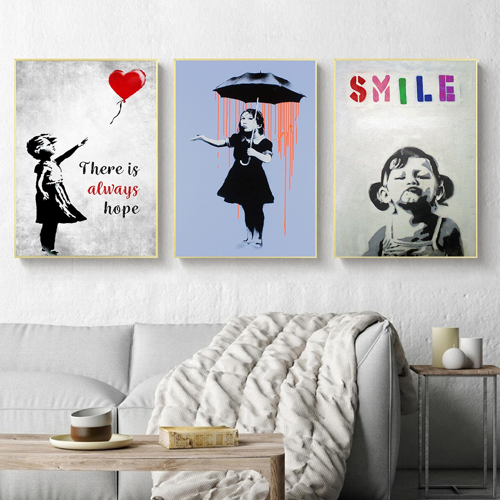 Graffiti Street Art Canvas Painting Girl With Balloon Painting There is always Hope Smile Kid Wall Art Poster Nordic Living Room