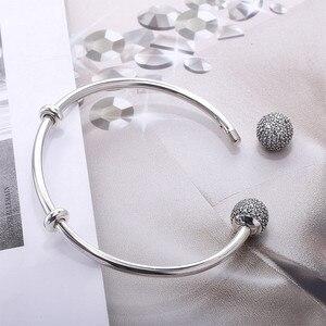 Image 3 - Женский браслет из стерлингового серебра S925 пробы Moonmory Moments, браслет из бисера с прозрачным цирконием, ювелирные изделия своими руками