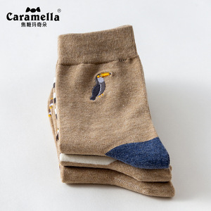 Image 4 - 3 Pairs/Lot Caramella Mens Socks Cotton Crew Socks Mid Calf Length Jacquard Embroidery Animal Pattern