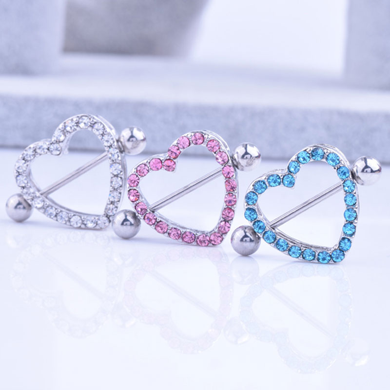 2 Pcs Punk Crystal Gifts Love Hearts Nipple Bar Rings Heart Rings Nipple Ring Barbell Body Piercing Jewelry Women Blue Pink Whit