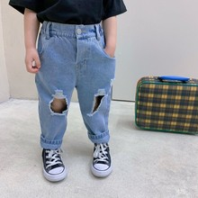2021 Spring Summer Broken Holes Denim Pants Loose Fashion Casual Boys Girls Jeans Oversize Bottoms Jeans for Girls Baby Clothing cheap CN(Origin) Fits true to size take your normal size Button Fly Unisex Solid Children medium