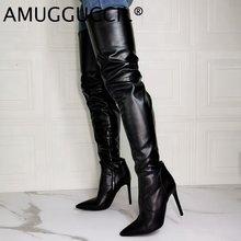 Женские ботфорты на молнии Черные Сапоги выше колена большой