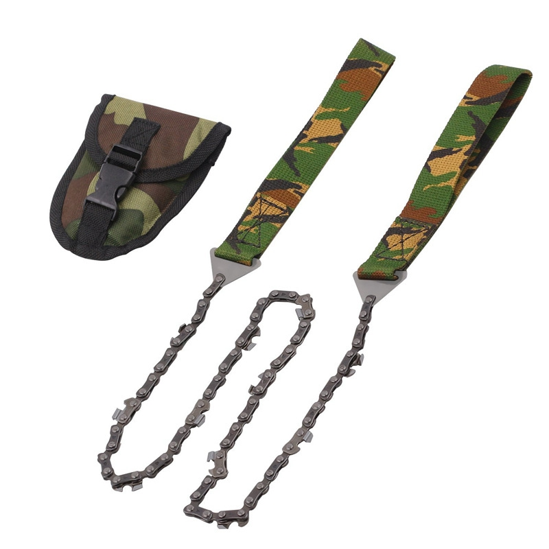 Outdoor Survival Camouflage Jungle Pocket Chainsaw Hand Folding Chainsaw Portable Bidirectional Chain Outdoor Wire Saw