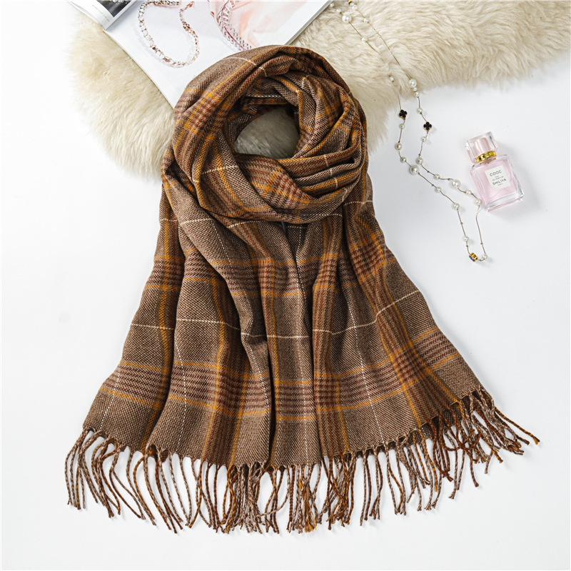 Scarf Shawl Wholesale Foreign Trade Plaid WOMEN'S Scarf Ethnic-Style Air Conditioner Shawl Faux Cashmere Scarf Customizable