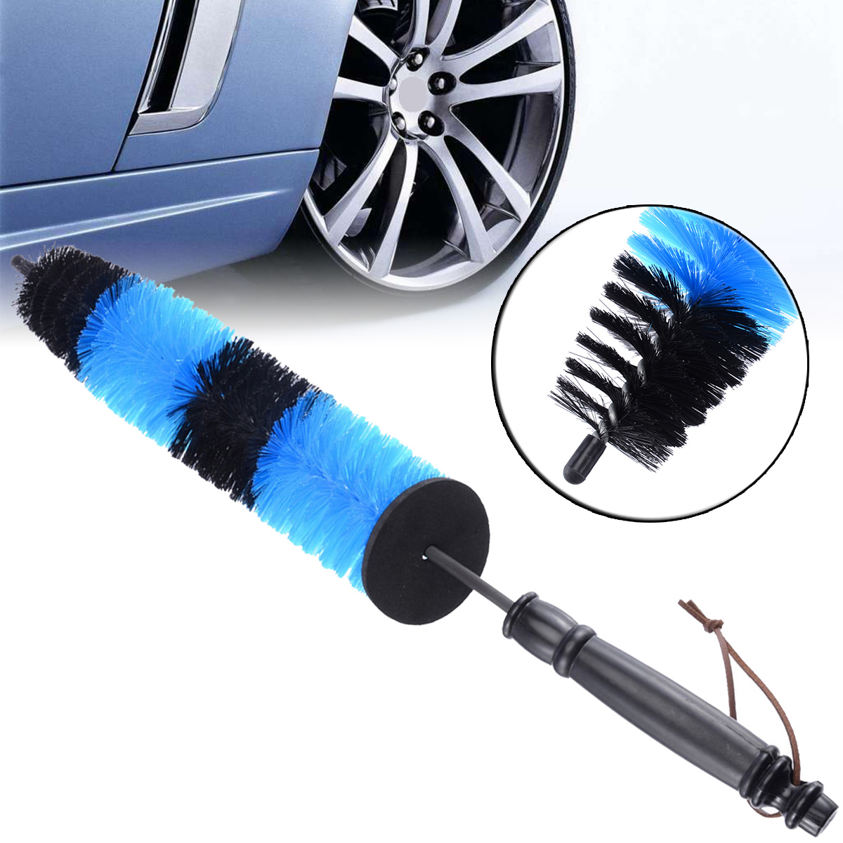 1pcs Multifunction Wheel Wash Brush Car Truck Motor Engine Grille Wheel Wash Brush Tire Rim Cleaning Tool Blue