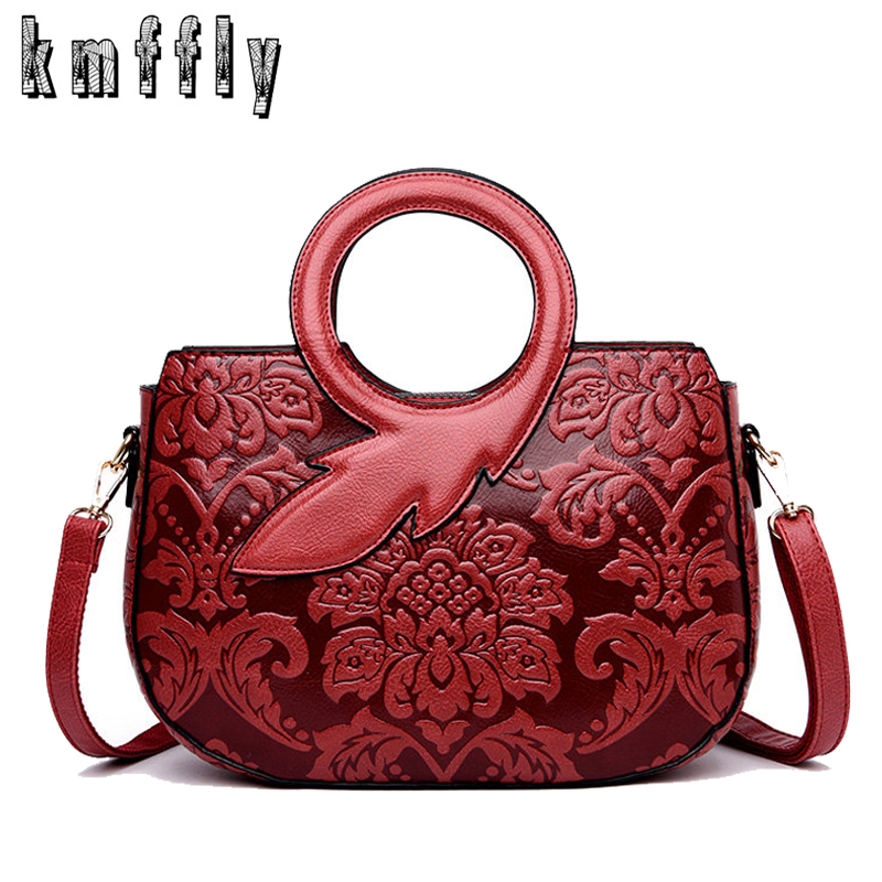New High Quality Leather Luxury Handbags Women Bags Designer Fashion Print Messenger Bags For Women 2019 Brand Lady Shoulder Bag Tote