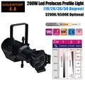 Бесплатная доставка светодиодный профиль 200 Вт белый цвет LUMINUS эллипсоидальный Gobo проектор свет теплый белый Светодиодный точечный свет ру...