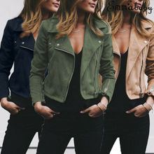 Autumn Winter Women Coat women Casual Tops Ladies Suede Leather Zip Up Jackets C