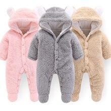 Двойной с перекрестными ремешками для маленьких Зимние комбинезоны костюм для маленьких девочек, осенняя одежда для новорожденных Изделие из шерсти для детей; комбинезон для мальчиков, для малышей младенцев Костюмы