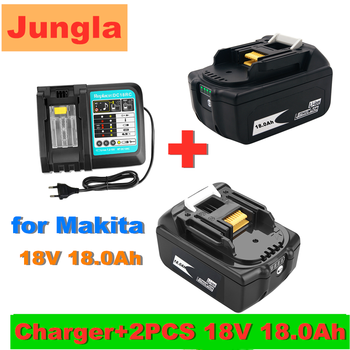 2PCS 18V 18.0Ah Rechargeable Battery 18000mah LiIon Battery Replacement Power Tool Battery for MAKITA BL1860 BL1830+3A Charger