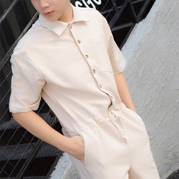 Loose port fashion men and women couples short-sleeved shorts jumpsuit jumpsuit overalls hairdresser nightclub