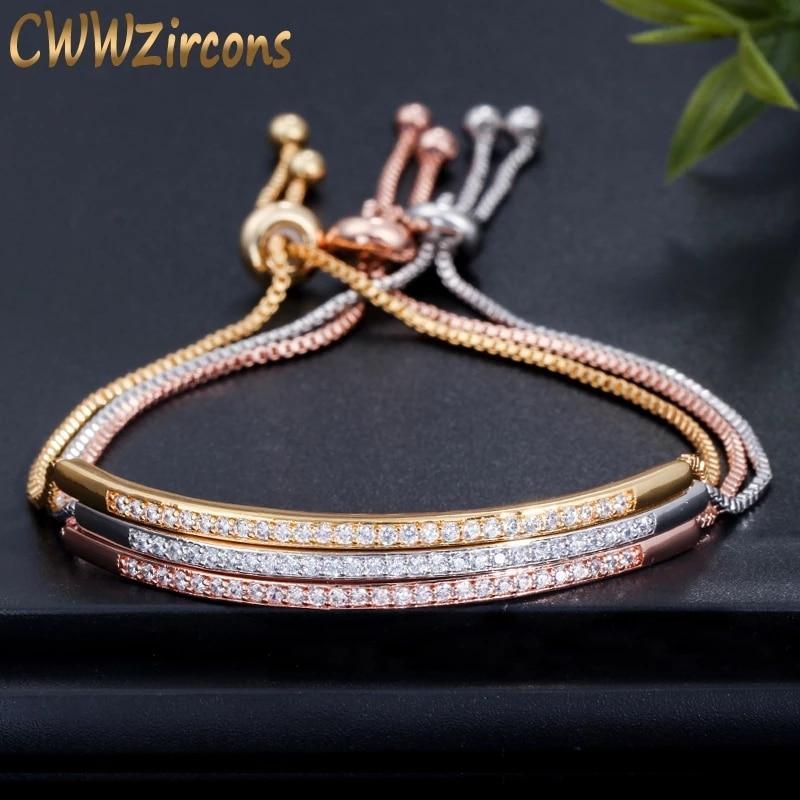 Cwwzirconi bracciale regolabile per donna accattivante Bar Slider brillante CZ colore oro rosa gioielli Pulseira Feminia CB089 1