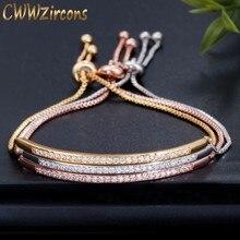 CWWZircons - bracelet ajustable pour femmes, bijou couleur rose tchèque doré brillant et captivant, avec glissière, bracelet ajustable pour femmes CB089