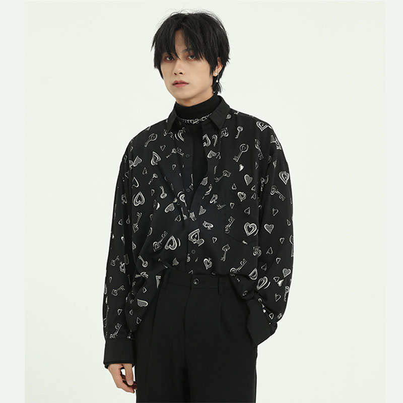 Men Casual Print Loose Long Sleeve Shirt Male Women Vintage Fashion Japan Korea Style Streetwear Shirt Couple Shirt