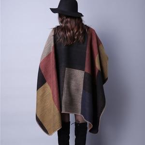 Image 3 - brand 2020 women winter scarf warmer shawl ladies Vintage plaid Blanket knit wrap Cashmere poncho capes female echarpe pashmina