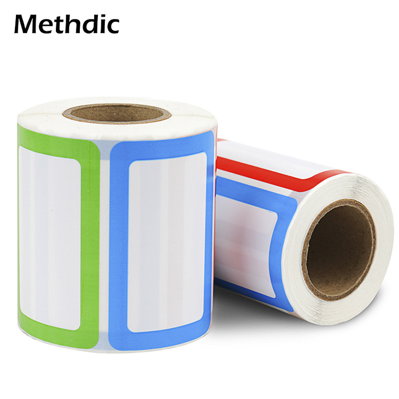 250/ Roll Methdic Colorful Sticker Name Tags 5 Colors