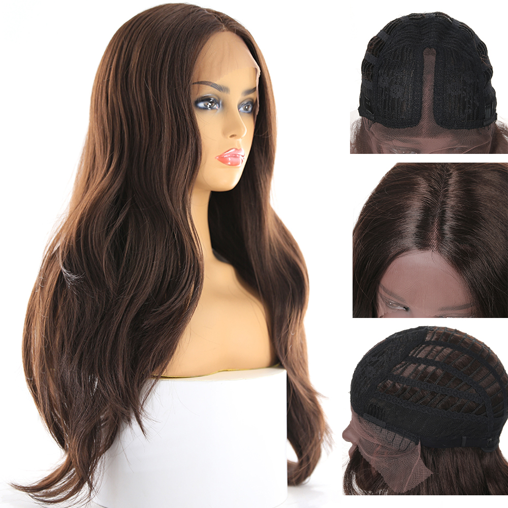 Image 5 - Medium Brown Synthetic Hair Lace Wigs For Women X TRESS Blonde 613 Long Wavy Lace Front Wigs With Natural Hairline Middle Part-in Synthetic Lace Wigs from Hair Extensions & Wigs